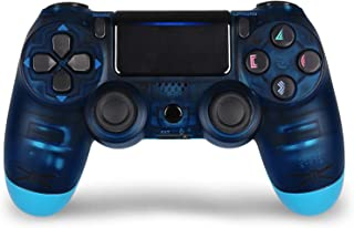 Game Controller for PS4,Wireless Controller for Playstation 4 with Dual Vibration Game Joystick (Transparent Blue)