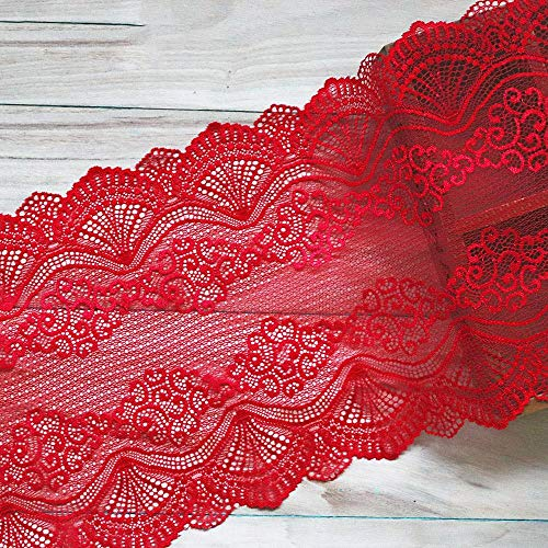 1 Yard 22,5 cm breedte rood Vintage haar decoratie brede elastische Stretch Lace Trim trouwjurk rok ondergoed Lace Trims stof