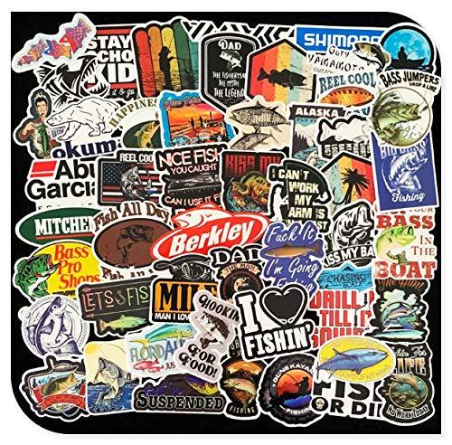 Fishing Graffiti Guitar Panel Luggage Waterproof Stickers 50 Sheets