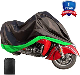 Motorcycle Cover Waterproof Sunblock Dustproof Outdoor Garage Motor Cover with 3 Adjustable Buckles XXXL Fit up to 108