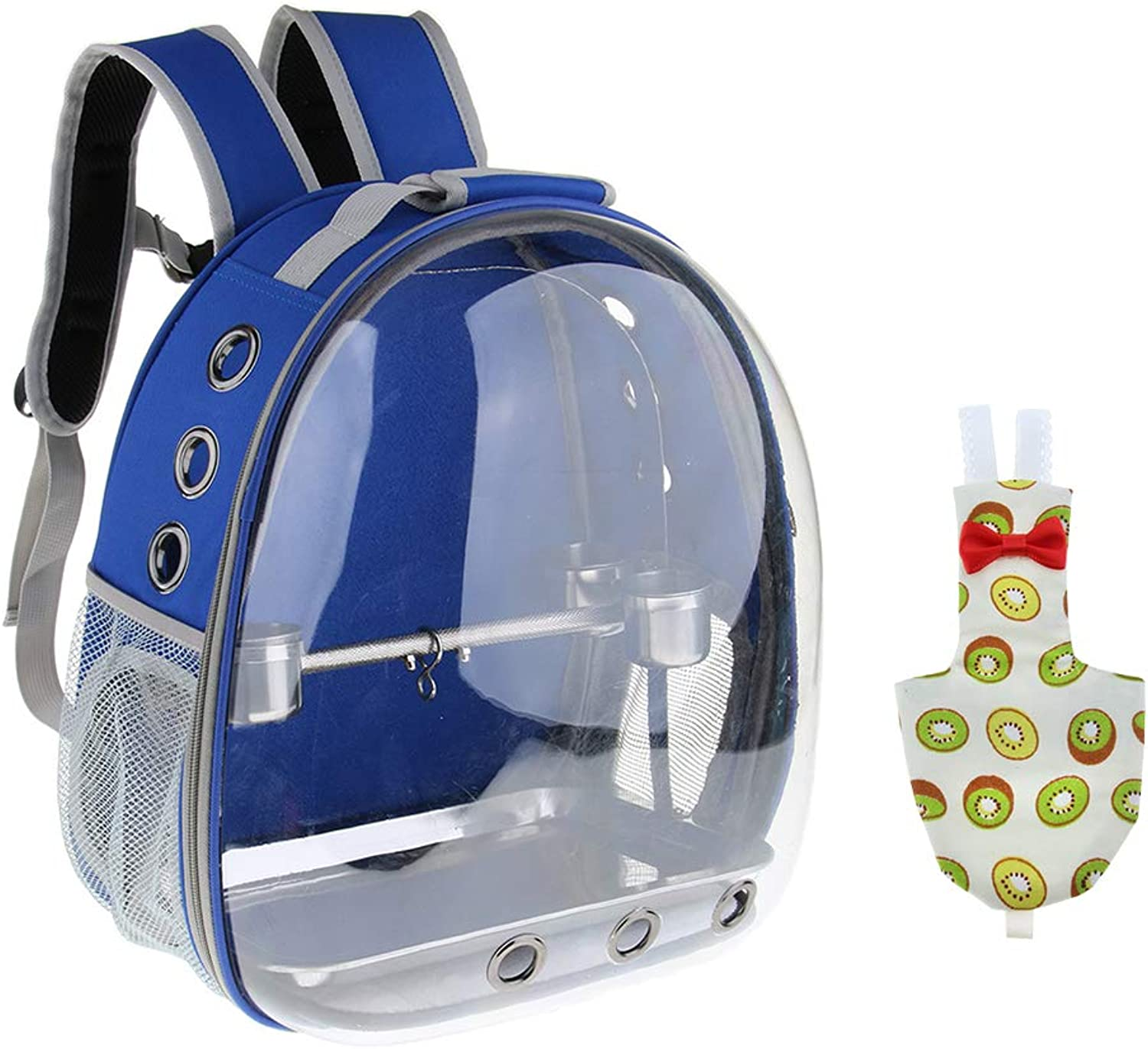 Baoblaze Transparent Pet Breathable Pet Parred Travel Space Capsule Backpack Carrier with Kiwi Pattern Bird Fashion Nappy Diaper (bluee)