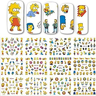 12 sets the Simpson's cartoon NAIL DECALS Bart Simpson homer Simpson Maggie Simpson water transfer Marge Simpson nail stickers natural manicure acrylic nail accessories nail vinyls French tip stickers