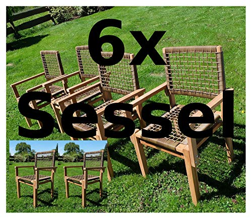 ASS 6Stück ECHT Teak Design Rattan Sessel Gartensessel Gartenstuhl Sessel Holzsessel Gartenmöbel Holz Modell: Rio-A von