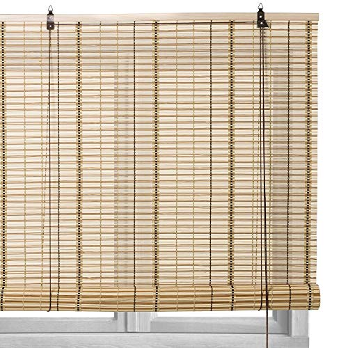 Estor Enrollable Beige de Varillas de bambú de 90x180 cm - LOLAhome