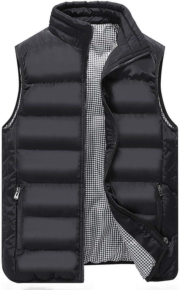 LGQ-HW Men's Lightweight Sleeveless Jacket Gilet Body Warmer Vest Winter Casual Slim Coats Clothing Cotton-Padded Men Waistcoat Big Size (Color : Black, Size : Medium)