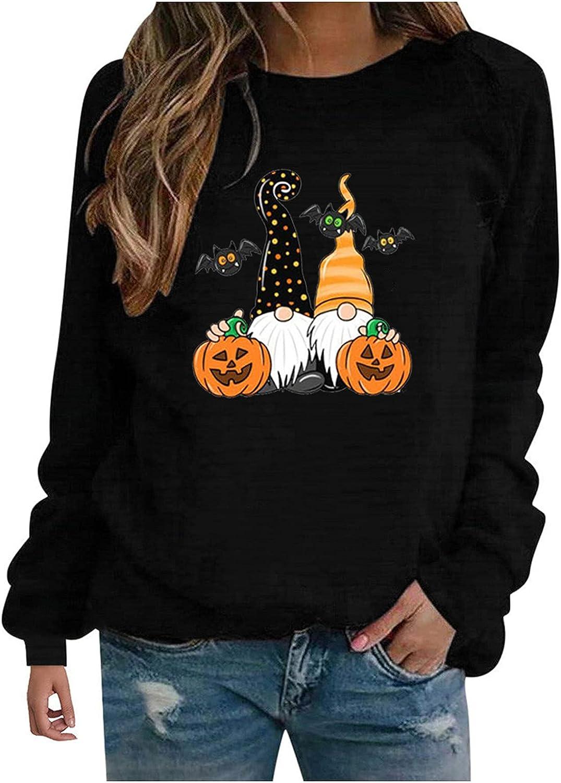 Halloween Shirts for Women, Fashion Hoodies Casual Long Sleeve Crewneck Pullover Cute Cartoon Graphic Girl Sweatshirt