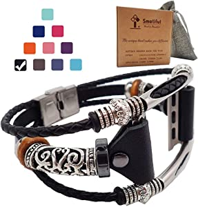 Smatiful Fancy Bands (Small Mediume Large xl are Ok) with Stainless Steel Clasp and Gunmetal Parts for Women, Adjustable Leather Band for Apple Watch (Series 1,2,3,4,5,6 SE) 42mm 44mm,Classic Black