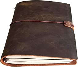 A5 Travelers Notebook - Refillable Leather Travel Journal for Men & Women, 3 Notebooks Inserted 5.5x8.25 inches, 120 Sheet...