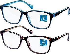 K KENZHOU Blue Light Blocking Glasses/Computer Glasses 2 Pack Blue light glasses(Women/Men) with Spring Hinges Nerd Readin...