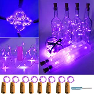 UNIQLED 8 Pack Wine Bottles Cork String Lights 15 LED Battery Operated Starry Lights for DIY Christmas Halloween Wedding Party Indoor Outdoor (Purple)