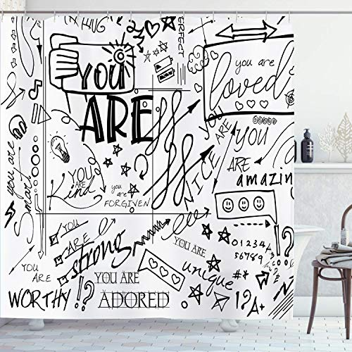 AMBZEK Funny Shower Curtain Inspirational Quotes You are Graffiti Letter Kids Teens Positive Saying Motivational Artwork Cloth Fabric Bathroom Decor Set with 12 Pack Hooks 60x71inch, Black White