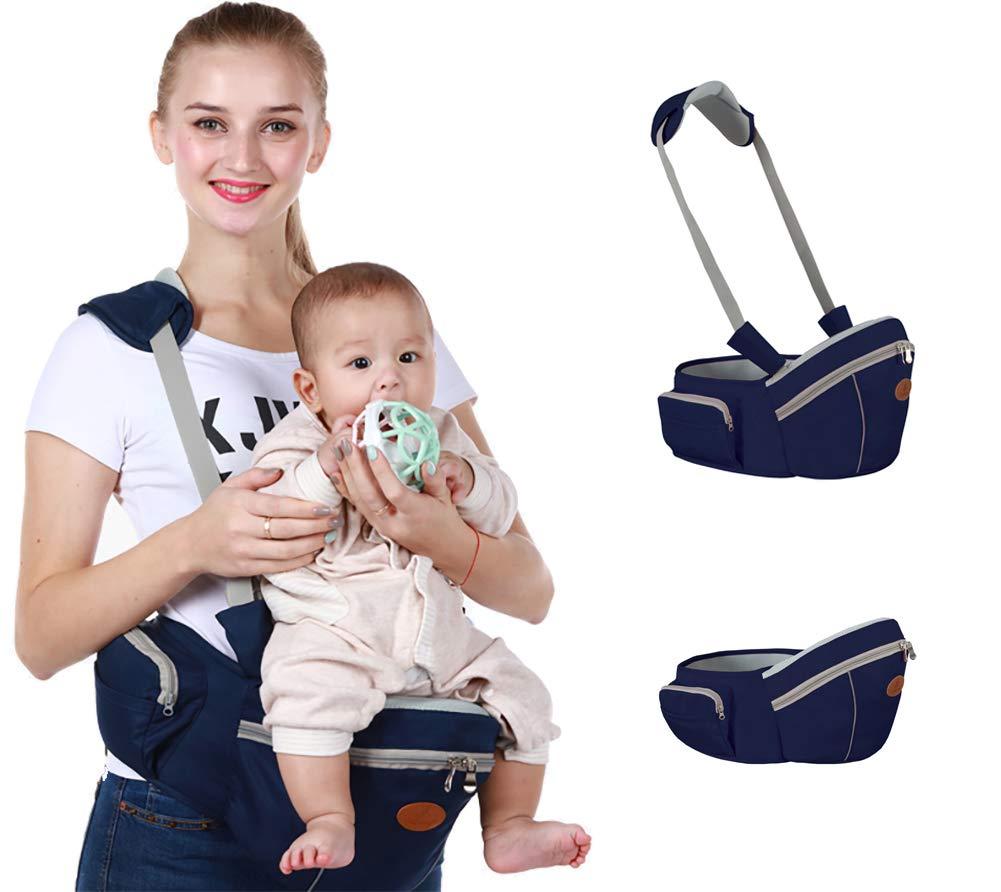 Baby Hip Seat Carrier Baby Waist Stool for Child Infant Toddler with Adjustable Strap Buckle Pocket Soft Inner Huge Storage (Dark Blue)