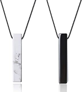 Yin Yang Bar Stone Pendant Necklaces for Couples