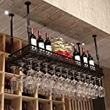 AERVEAL Hanging Wine Cup Rack Rustic Bottle Beverage Stand Adjustable Height Ceiling Floating Shees Stemware Holder to Hang Cocktail or Champagne Flutes for Kitchen Bar Pubs Rack,100Cm(39.4In),100Cm(