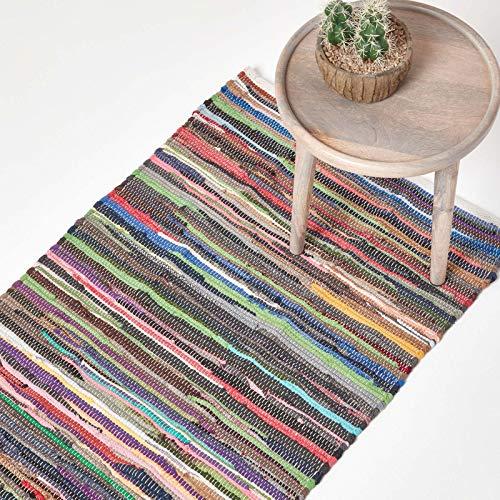 Homescapes Chindi-Teppichläufer, handgewebt aus 100% recycelter Baumwolle, 66 x 200 cm, Flickenteppich mit bunten Streifen