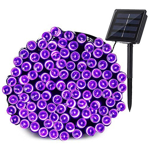 Qedertek 200 LED Solar Christmas Lights, 72 ft Halloween String Lights Waterproof Outdoor Fairy Lights for Xmas, Home, Wedding, Patio, Lawn, Garden, Porch, Party and Holiday Decorations (Purple)