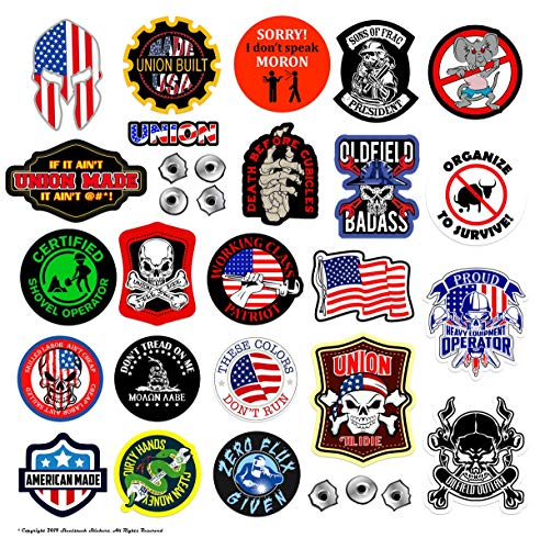 Large Union Hard Hat Stickers | 100% Highest Quality Waterproof Vinyl | Funny Hardhat, Toolbox, OILFIELD, Organize, Union, Roughneck, Welder, Construction, Patriotic, American Flag!