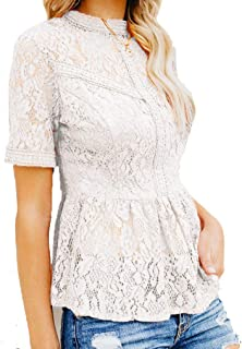Tobrief Women's Short Sleeve/Long Sleeve Sexy Sheer Mesh Lace Blouse Peplum Top