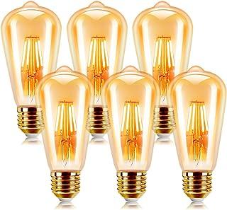 Bombilla Retro Vintage, Extrastar Bombillas Edison de Filamento LED E27 6W (equivalente a 48W), 540 lm, Color blanco cálid...