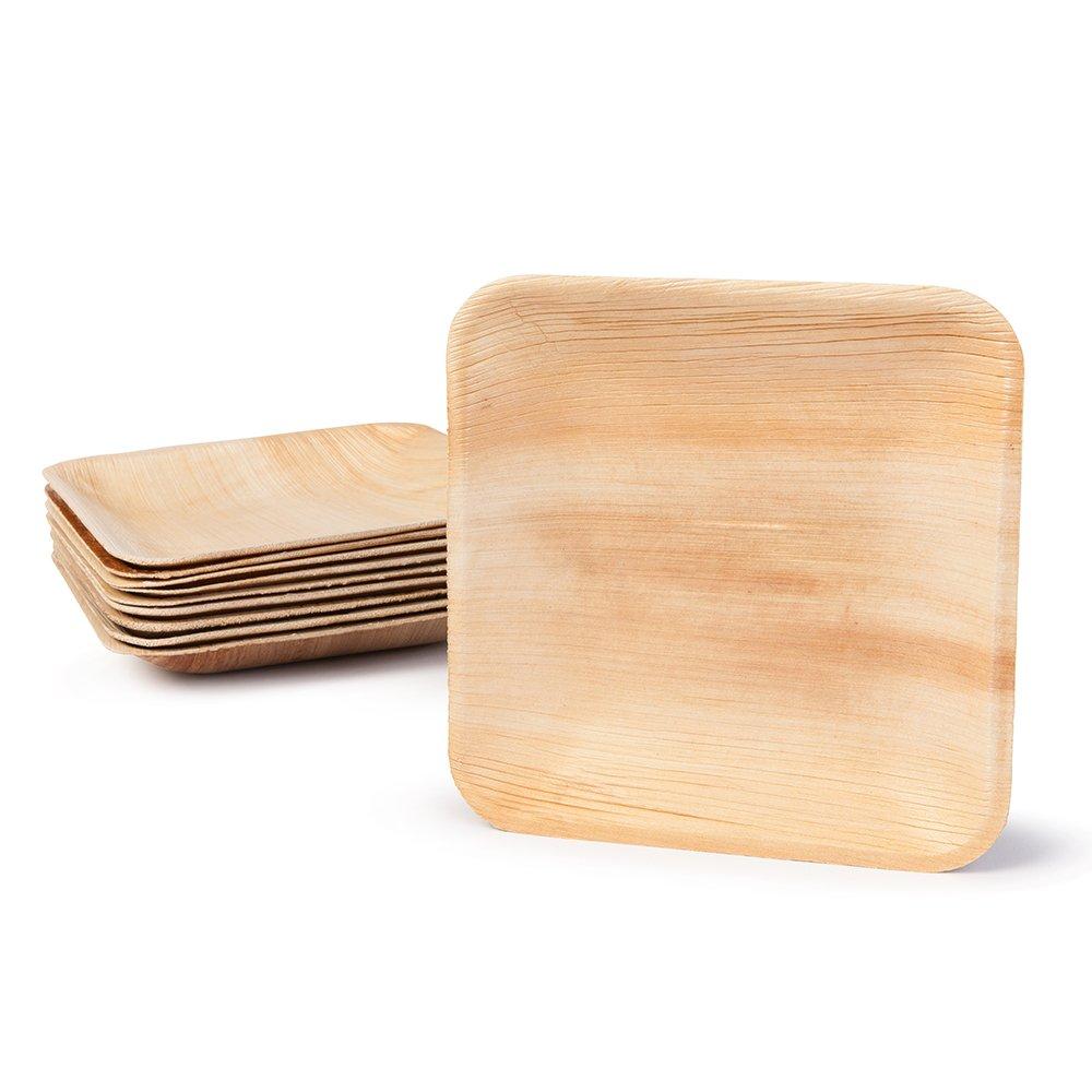 BIOZOYG DTW05369 Plato de Hoja de Palma, 25 uds, Cuadrado, 15x15 cm, Biodegradable: Amazon.es: Hogar