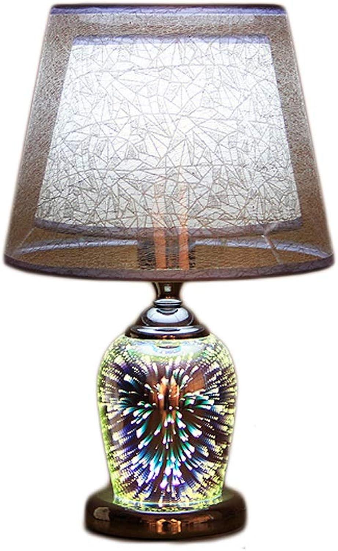 Liutao Tischlampe Nachttischlampe Retro Lampe Warme Glas Tischlampe Wohnzimmer Studie Moderne 3D Pyrotechnic Schlafzimmer Nachttischlampe (Farbe   Silber, Gre   41  18  20cm)