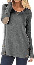 NICIAS Mujeres Botones en Ambos Lados Manga Larga Casual Cuello Redondo Parche en el Codo Camisa de Entrenamiento Camiseta de Suelta Blusas Chaqueta de Túnica