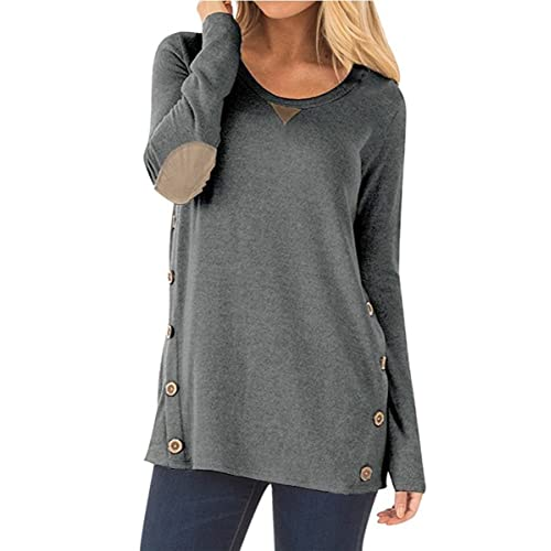 NICIAS Womens Side Buttons Long Sleeve Casual Crew Neck Elbow Patched  Sweatshirt Loose T Shirt Blouses 6158f9d4c