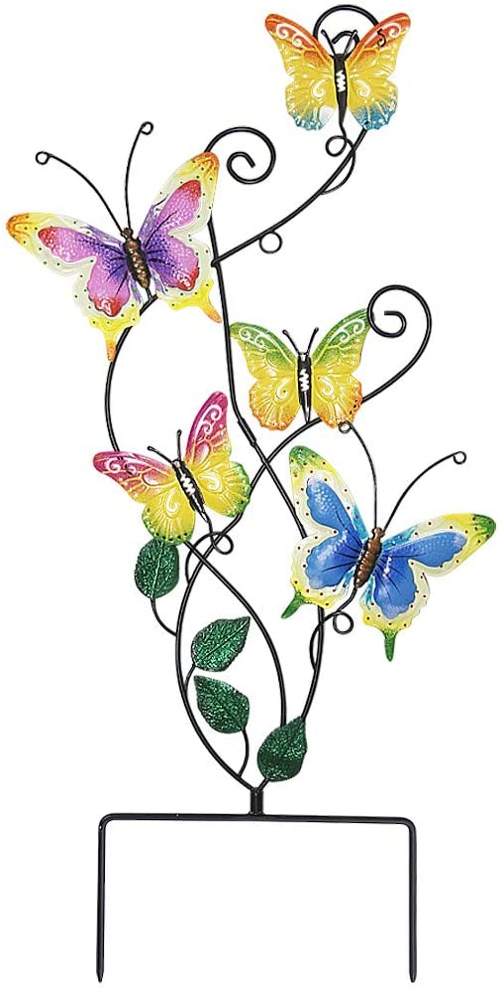 Juegoal 28 Cheap mail order shopping Inch Butterfly Garden Stake Wall Metal Art Finally popular brand Decor Deco