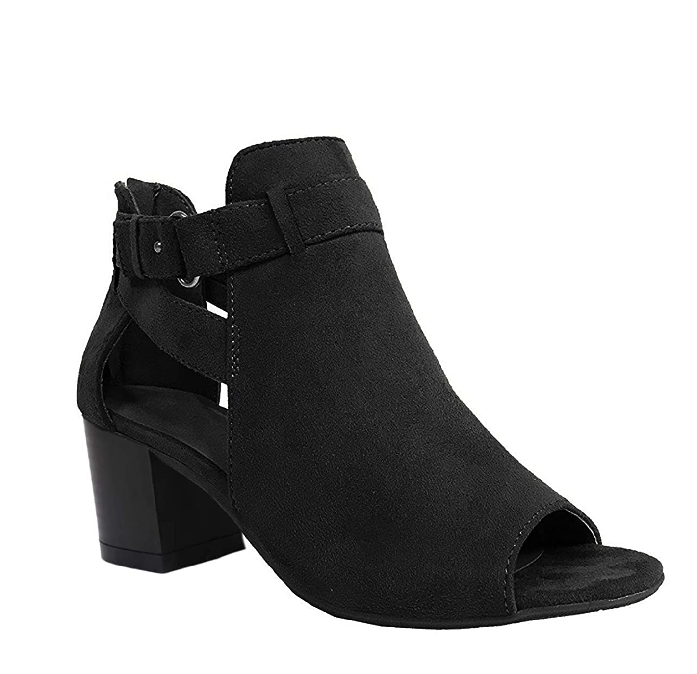 Womens Cutout Bootie Sandals Open Toe Stacked Heel Ankle Strap Chunky Heeled Shoes