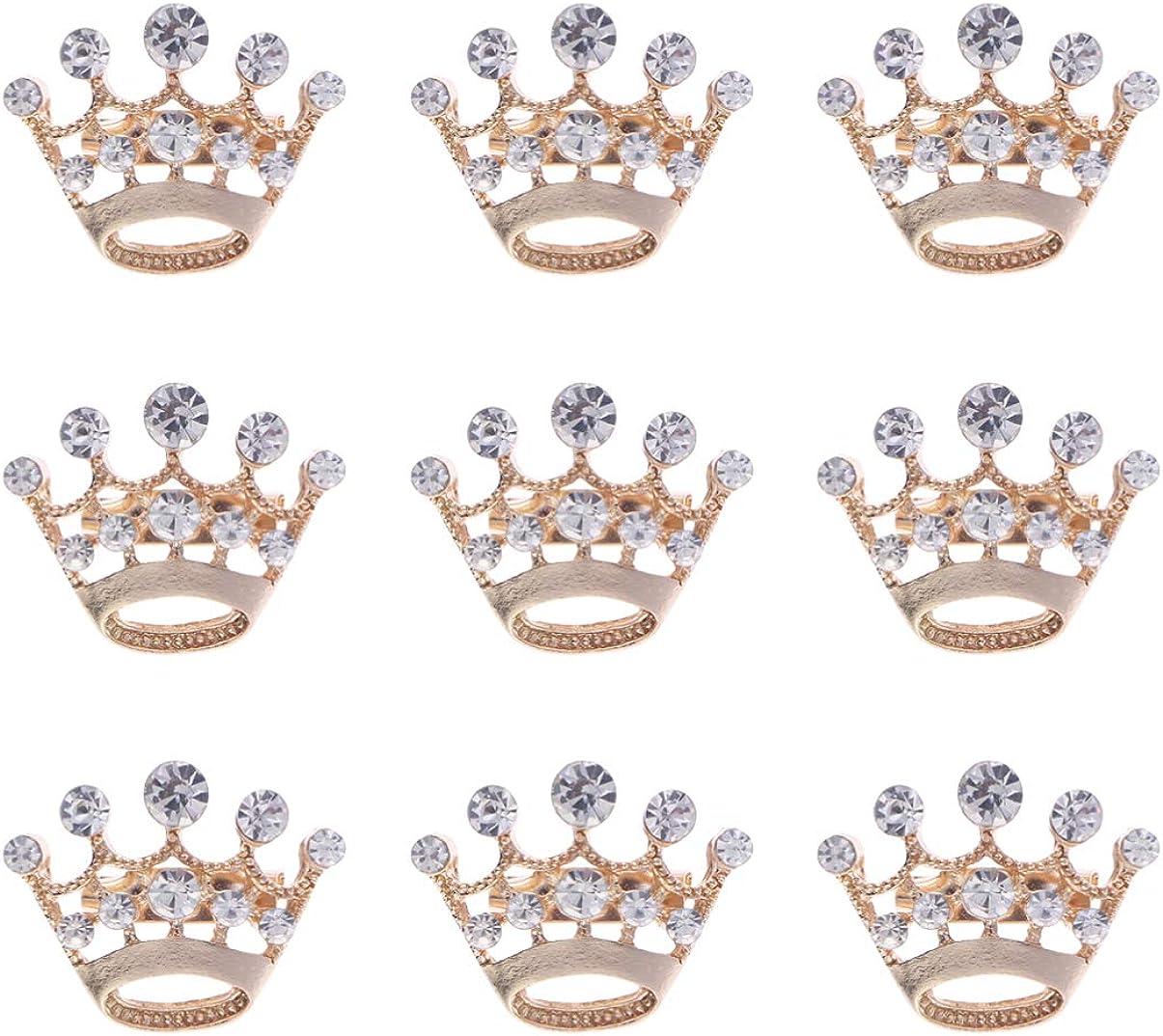 12pcs Elegant Crown Brooch Pin Rhinestone Crystal Corsage Brooch Pin Diamante Crown Brooch for Women Wedding Supplies
