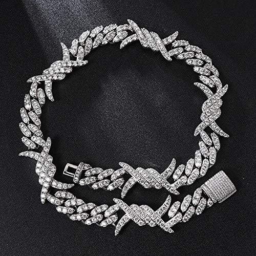 19mm Iced out Heavy Rock Thorns Box Buckle Link Cadenas cúbicas Collares para Hombres Joyería Collar de Plata de 16 Pulgadas