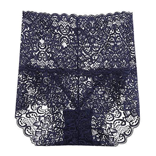 LTHH Damen Spitze Perspektive Höschen sexy Spitze hohe Taille Unterwäsche, dunkelblau_XL