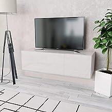 Blanco UnfadeMemory Mueble para TV,Mesa para TV,Mesa Baja para Sal/ón Dormitorio,con 2 Compartimentos con Puertas,Estilo Moderno,Aglomerado 120x40x34cm