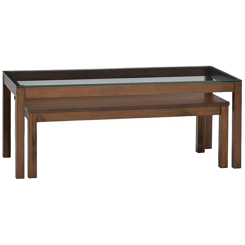 かもめマキシム剣タマリビング ローテーブル ウォルナット ウッド×ガラス テラス 50004151