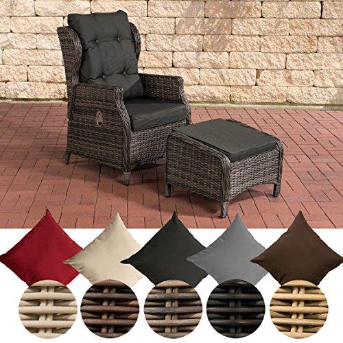 CLP Polyrattan-Sessel BRENO mit Sitzpolster und Fußhocker I Relaxsessel mit Verstellbarer Rückenlehne I erhältlich Bezugfarbe: Anthrazit, Rattanfarbe: Grau-meliert