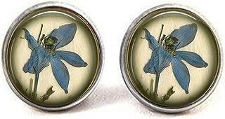lukuhan Something Blue Wedding - BLUE IRIS Pressed Flower Image - Something Blue Bridal Pendant earrings
