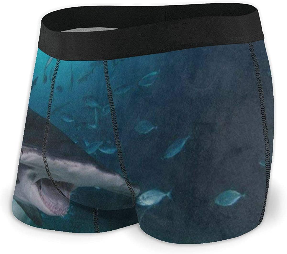Mens Boxer Briefs Underwater World Funny Shark Fish Breathable Underwear