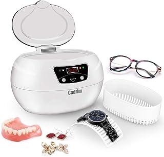 Cadrim Limpiador Ultrasónico de 600ml con Temporizador para Limpiar Relojes, Joyas, Gafas y Piezas Metálicos, Blanco y Gris