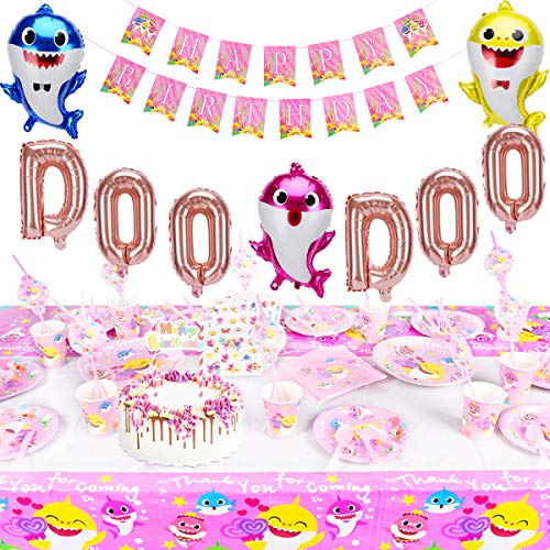 235 Pcs Baby Cute Shark Party Supplies Birthday Decorations Set, Baby Shark DOO DOO Balloons Happy Birthday Banner Cake Topper Disposable Tableware Tattoo Sticker For Kids Girl Birthday Carnival Party