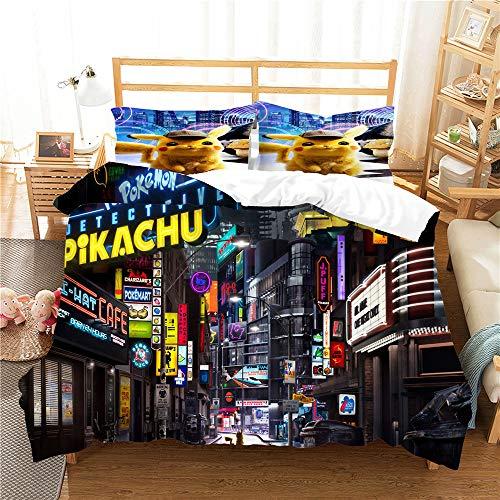 Meiju Duvet Cover Set, 3D Bedding Set Soft 3 Pieces with Microfiber Pillowcases & Zipper Closure Quilt Case Printed Effect for Boy Girl Single Double King Size Bed (Black city,220x240cm)