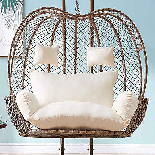 Seat Cushioning Pad For Indoor Outdoor Patio Backyard Double Zipper No Chair-creamy-white,Thick Hanging Hammock Nest Egg Swing Chair Cushion