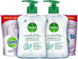 Dettol Tulsi Hand wash Refill and Pump 200ml+175ml, Pack of 2 (co-Created with Moms)