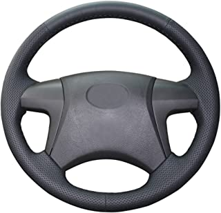 Eiseng DIY Genuine Leather Steering Wheel Cover for 2008 2009 2010 2012 2013 Toyota Highlander/for 2007-2011 Camry/for 2011-2014 Hilux Interior Accessories (Black leather with Black thread)