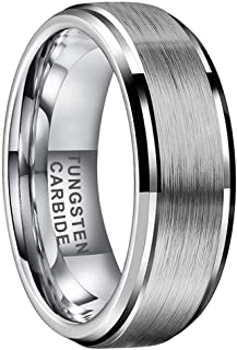 iTungsten 4mm 6mm 8mm Silver/Black/18K Gold/Rose Gold/Gunmetal Tungsten Rings for Men Women Wedding Bands Stepped Beveled ...