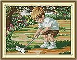 Kit de punto de cruz Niño, jugar al golf Conjunto de Bordado 16 x 20 pulgadas DIY costura punto de cruz set decoración de pared principiante(11CT)