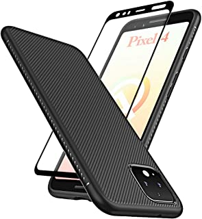 Huness Google Pixel 4 Case with Tempered Glass Screen Protector Scratch Resistant Anti Slip Grippy Soft TPU Case for Google Pixel 4 Phone (Black)