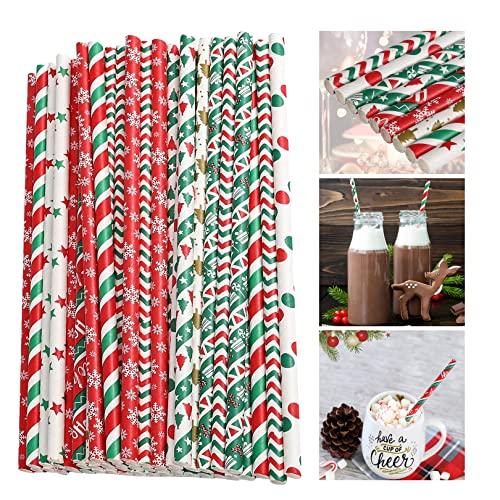 50 cannucce di carta natalizie, colore: rosso/bianco e verde, con fiocchi di neve, albero di Natale, stelle, strisce e decorazioni da tavolo, biodegradabili