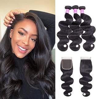 "Gabrielle Body Wave (14""16""18"") Human Hair Bundles with 12 In 4x4 Free Part Lace Closure 100% Unprocessed 3 Bundles Virgin Brazilian Weave Hair Human Bundles with Closure Nature Color 330 G (11.7 OZ)"
