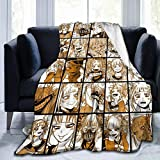 Padida My Hero Academia Collage Anime Himiko Toga Throws Blanket Couch Sofa Soft Warm Flannel for Traveling Camping Home Bedding Living Room 50'' X40