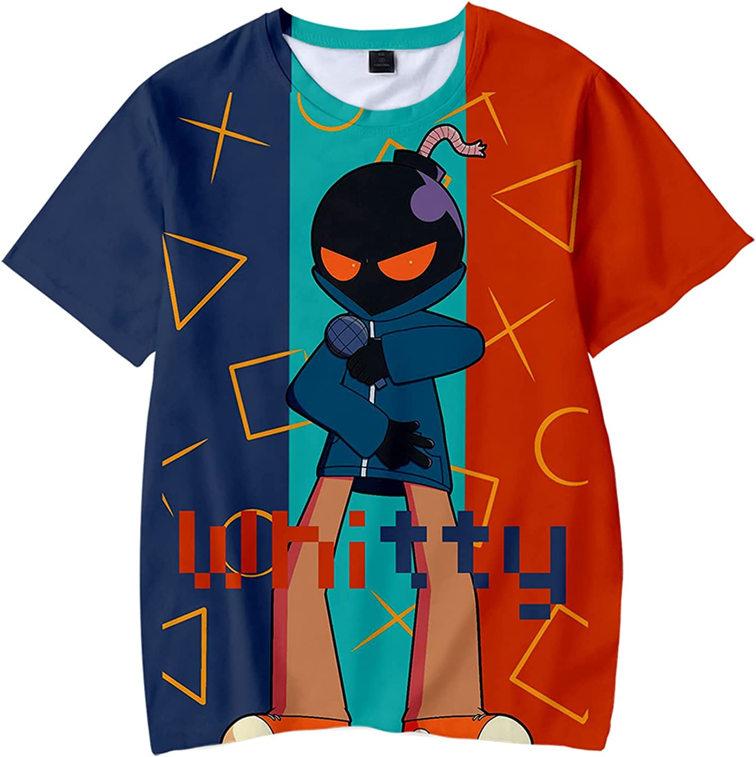 Friday Night Funkin Shirt for Boys and Girls Teenage 3D Printed Short Sleeved T Shirt Loose Round Neck Top
